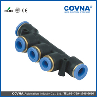Pneumatic plastic One touch connector air union triple fittings