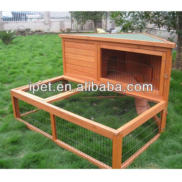 Cheap Outdoor Triangle Roof of Wooden rabbit cage with extra run