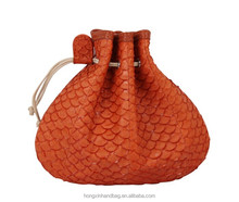 2016 Luxurious ladies exotic leather handbag HX1068in real fish skin coin bag top line exotic handbag