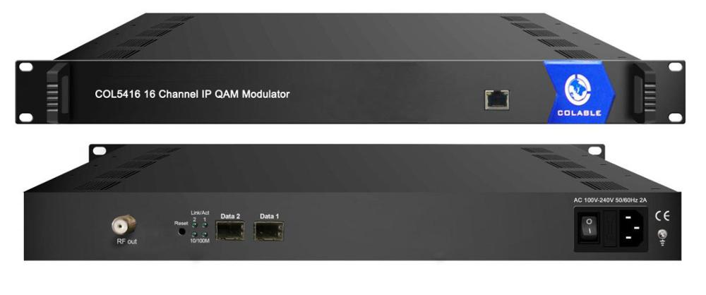 digital catv ip qam rf modulator 16channels with mux-scrambler COL5416