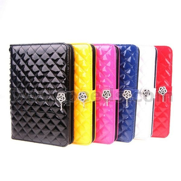 Checked Plaid Camellia Rhinestone Leather Wallet Case Cover for iPad 2/3/4