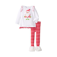 2017 Fall new children's clothing girls Santa Claus clothes lace collar with dot striped pants Christmas suits