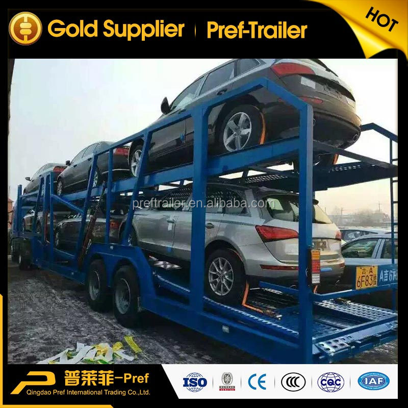 hot sale dual <strong>axles</strong> 8 <strong>wheels</strong> car carrier semi trailer for sale