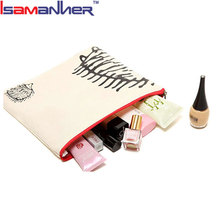 Fashion creamy white easy carry lady canvas small cosmetic bag