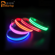 2017 Wholesale USB Rechargeable Weaving 2 Strip Lights Flashing Pet Dog Collar