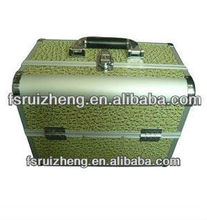 Elegant Green Leather Makeup Box with Tray RZ-A021
