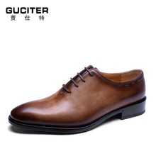 Goodyear welted italy shoes hand made custom shoes men genuine leather lace-up mens shoes 100% full grain leather shoes