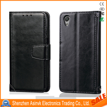 Classic Grain Leather Folio Flip Card Slot Kickstand Magnetic Closure Rahmen Wallet Case for Sony Xperia Z5 Compact/Z5 Mini