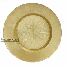 "DAYA 13"" Round Glass Gold Burst Charger Plate"