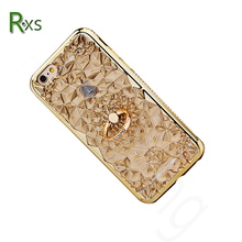 2018 Luxury Fashion 3D Texture Soft TPU Bling Diamond Crystal Phone Case with Ring Holder for iPhone 8