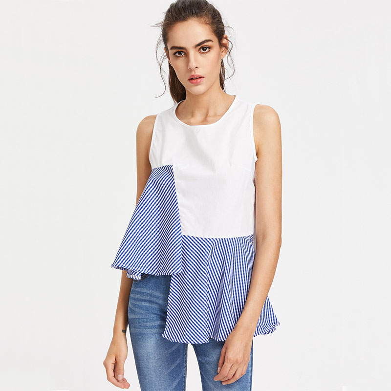 New Arrived Casual Lattices Combination Irregular Design Lady Summer Sleeveless Top Blouse Neck Models