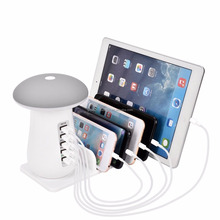Mobile phone USB 3.0 Quick Multi-Ports Charging Station with Mushroom Desk Lamp