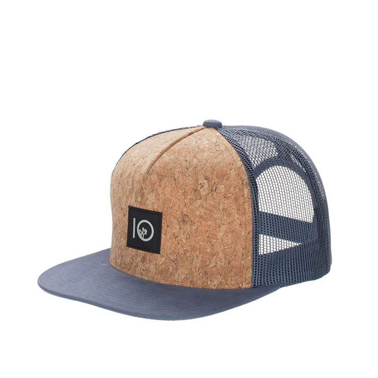 wholesale 5 panel custom cork snapback hat cap mesh trcuker hat with woven  label d21e511d870d