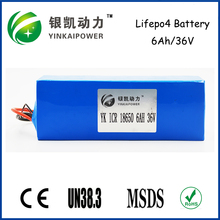 Hot Selling 1000W Electric Bike Battery 36V 6Ah Lifepo4 18650 Battery Cell 36V with PVC Case 36V 6A BMS & 42V 2A Charger