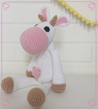 Wholesales 100% Cotton Baby Crochet hippo Stuffed Toys Handmade Knit River Horse Toy