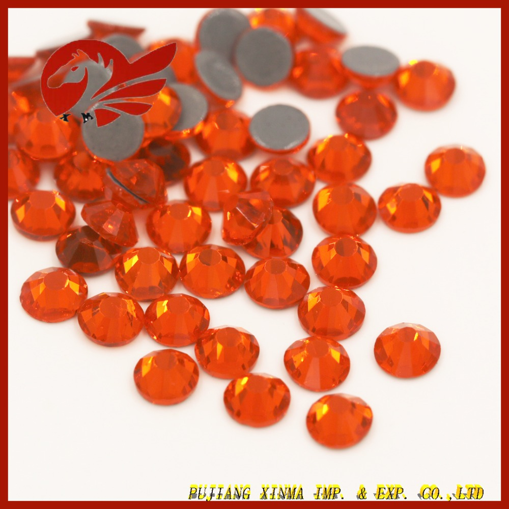 Wholesale Low Price Hot Fix Rhinestone Red Orange Crystal on Garment