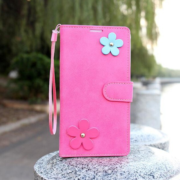 For Samsung Galaxy Note 4 Creative Flower Flip Leather Stand Phone Case