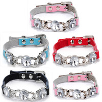 China Supplier Collars for Dogs Genuine Leather Collar Diamond Pet Collar Buckle