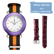 16mm width nylon leather bands stainess steel case girls watch