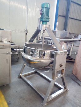 Stainless steel industrial tilting type double jacket agitator kettle