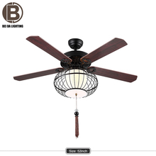 "52"" Chinese style ceiling fan with led bulb included remote control"