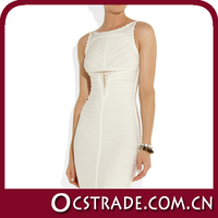2014 summer cut out sleeveless sexy white feather cocktail dress