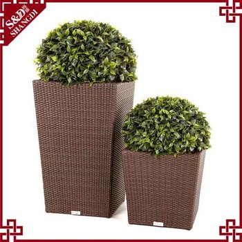New products outdoor rattan wicker patio garden planter pot large rattan flower pot