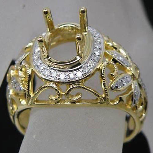 Vintage Gold Jewelry Oval 9x11mm 14Kt Yellow Gold Diamond Semi Mount Engagement Setting Genuine Gold Ring CT041