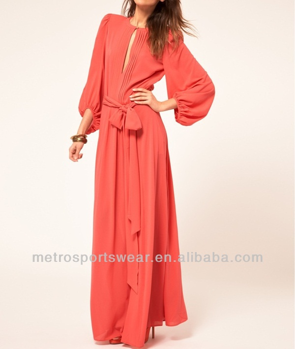 2015 Long sleeve ladies chiffon maxi dress
