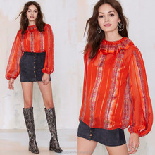 Hot selling new design chiffon style blouse lady top ,orange floral printed women chiffon blouse