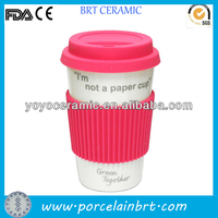 customised white porcelain eco thermal mug with silicone lid and sleeve