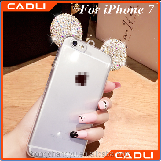Shinny 3D Mickey Mouse Ears Rhinestone Phone Cover Case For Iphone 7
