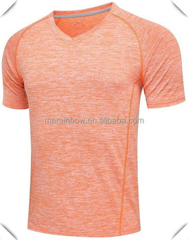 Heather Polyester Spandex Plain V Neck T Shirts Men Raglan Short Sleeve Dry Fit Performance Sports T Shirt