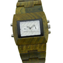 Original factory supply customized wood quartz green sandal wood watches for men with fully calendar