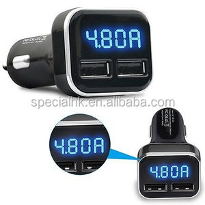 Auto Universal LED Display bluetooth Dual USB Car Charger DC5V / 3.4A / 4.8A