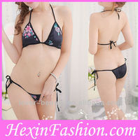 Wholesale Women Black Flower Print Sexy Fancy Bra Panty Set