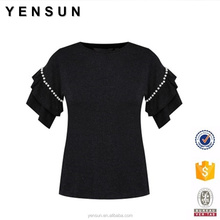 Women casual workwear ruffle short sleeves simple blouse with pearl details