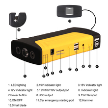 Emergency battery charger portable accessories jump starter power bank for 12V cars with hammer