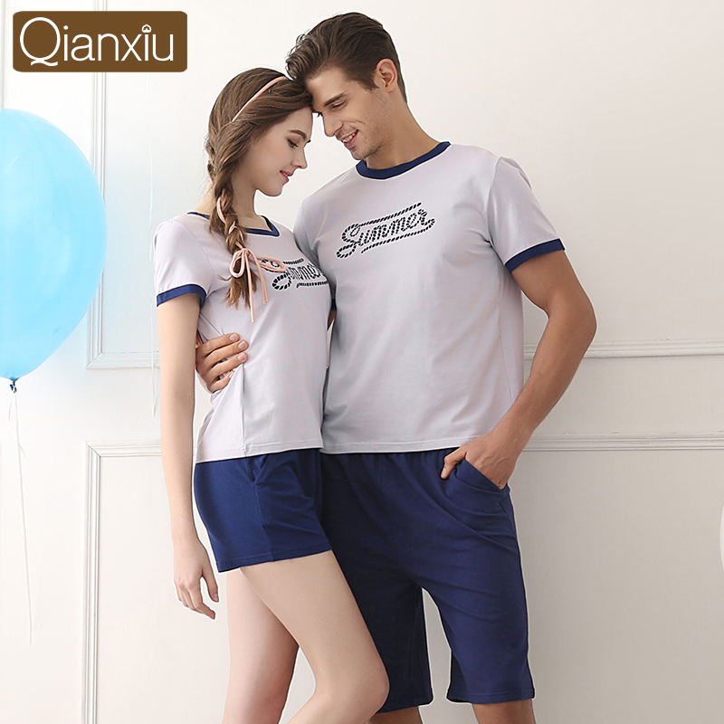 2017 Popular Qianxiu Summer Lovers Sleepwear Women Turkish Pajama Set 2PC Casual Family Honeymoon Lounge Wear