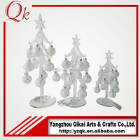 Small dismountable balls decorated clear glass christmas tree