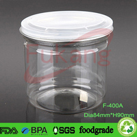 400ml Transparent PET Food Jar with Easy Open Lid, Empty Clear Plastic Bottle for Food with Easy Open End Aluminum