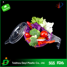 Eco-friendly BPA Free Food-grade plastic salad bowl with lids and handle
