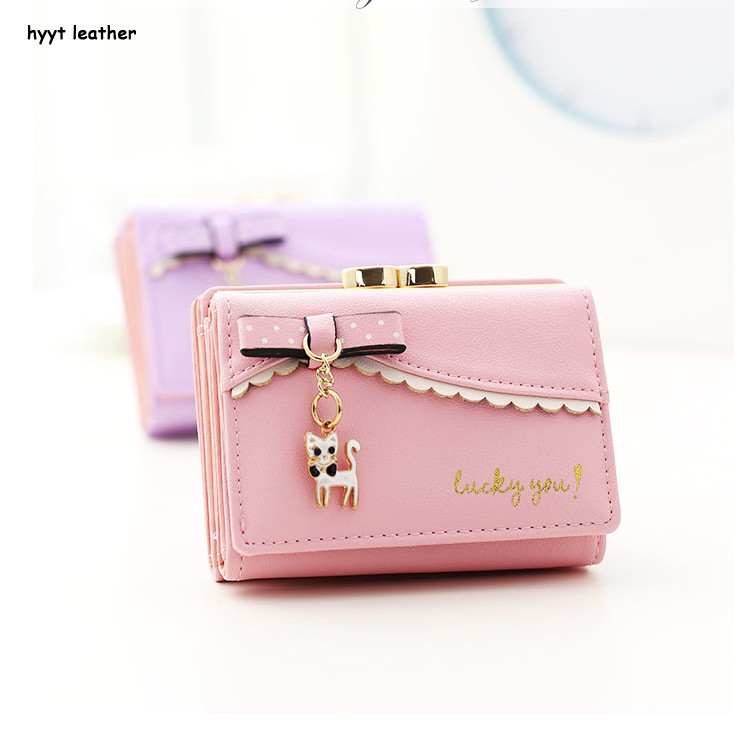 LINJIAXIAOFEI small cat pendant short ladylike wallets newest design 3 folded candy colors bowknot women long purse