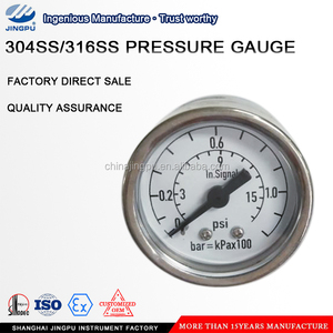 One-piece integrated pressure gauge 63mm ,dual scale unit psi/bar
