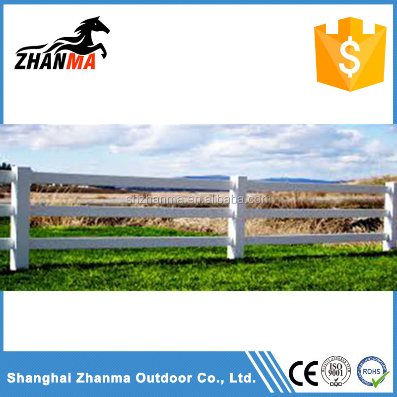 White Vinyl Fence UV Protected PVC Horse Fence , Cheap Farm Fence