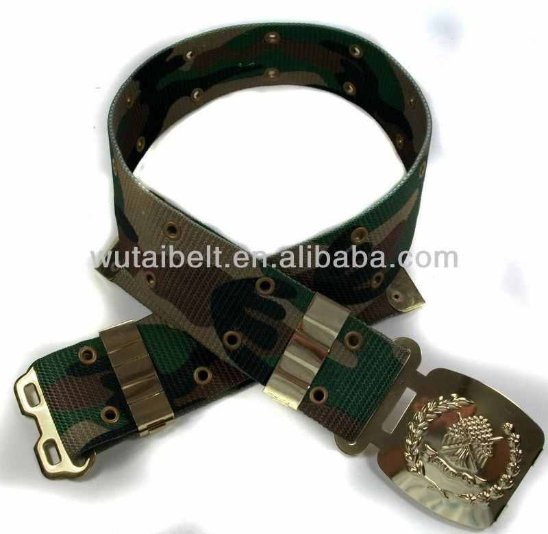 Printing Nylon with zinc alloy golden police buckle Military belt