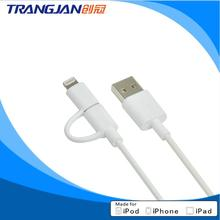 High quality 2 in 1 mfi certified cable 8 pin micro usb mfi charging cable 2m