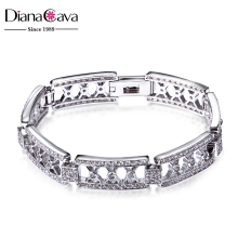Luxury Evening Party Grand Rhodium Plated Brass Base Cubic Zirconia Bracelet