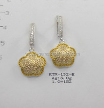 wholesale costume jewelry golden yellow cz flower earring