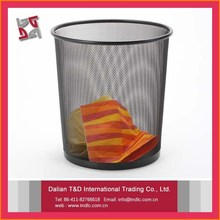 Hot Sale Metal Mesh Round Dust Bin/waste Bin Basket Organizer Office Bin